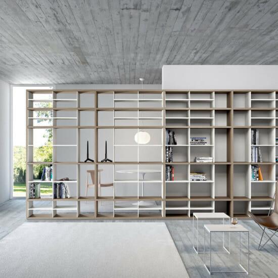 Contemporary bookcase / oak / modular / lacquered